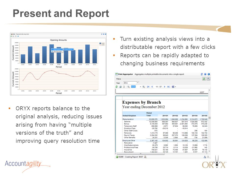 Present and Report  Turn existing analysis views into a distributable report with a few clicks  Reports can be rapidly adapted to changing business