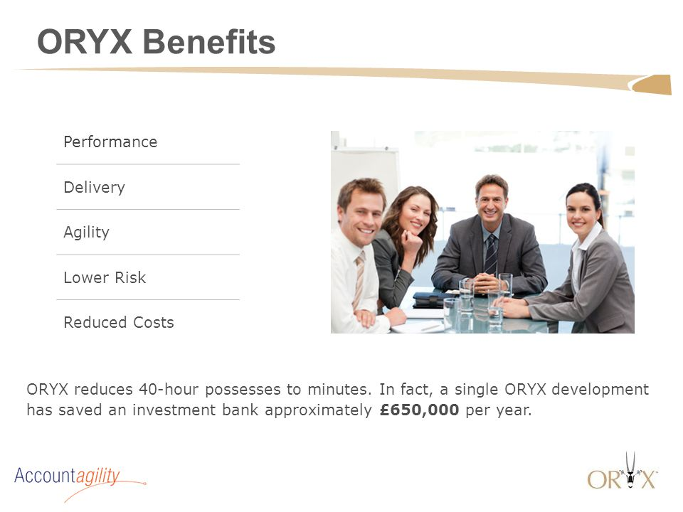 ORYX reduces 40-hour possesses to minutes. In fact, a single ORYX development has saved an investment bank approximately £650,000 per year. ORYX Benef
