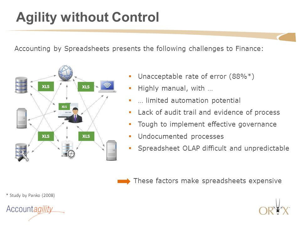 Agility without Control  Unacceptable rate of error (88%*)  Highly manual, with …  … limited automation potential  Lack of audit trail and evidenc