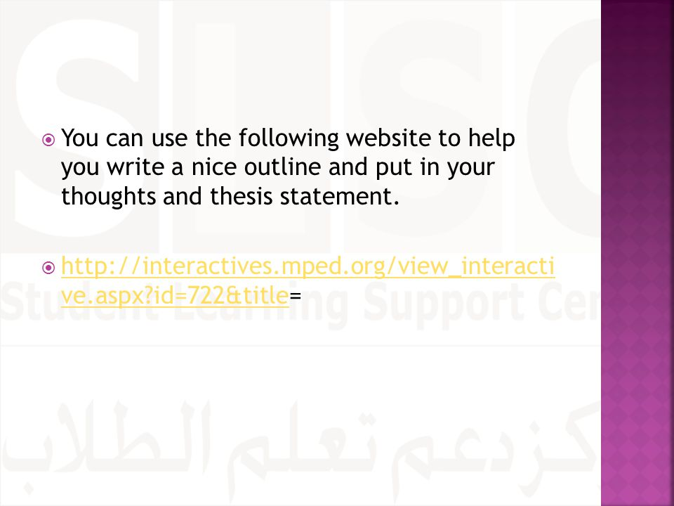  You can use the following website to help you write a nice outline and put in your thoughts and thesis statement.  http://interactives.mped.org/vie