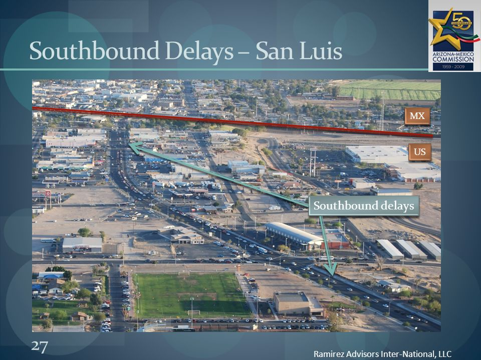 27 Southbound Delays – San Luis Ramirez Advisors Inter-National, LLC MX US Southbound delays