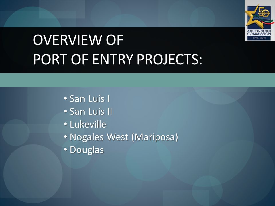 OVERVIEW OF PORT OF ENTRY PROJECTS: San Luis I San Luis I San Luis II San Luis II Lukeville Lukeville Nogales West (Mariposa) Nogales West (Mariposa) Douglas Douglas