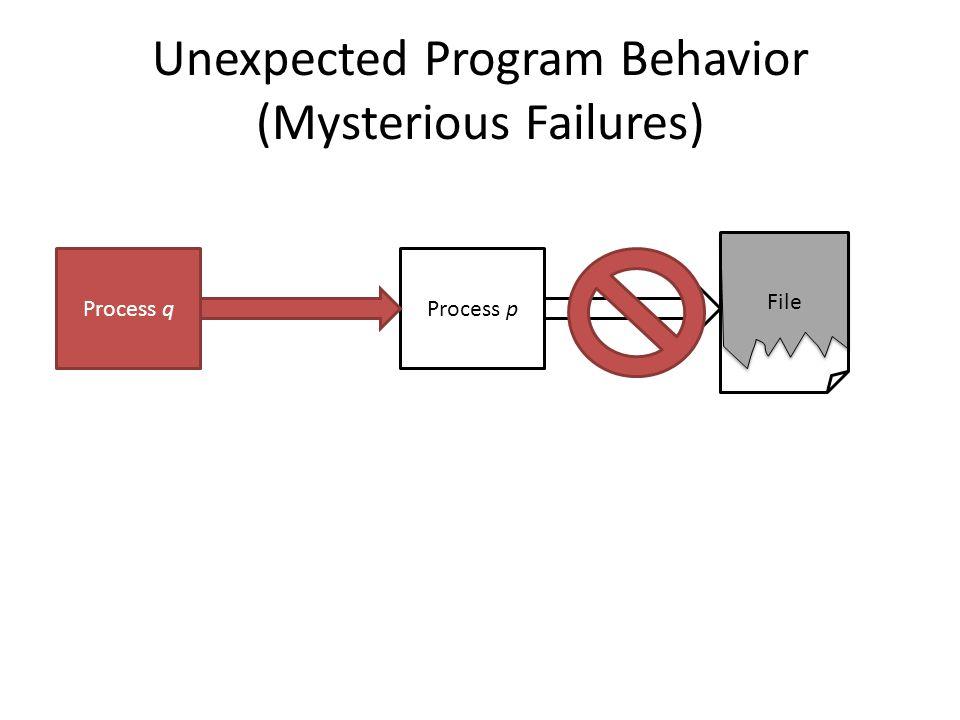 Unexpected Program Behavior (Mysterious Failures) Process pProcess q File