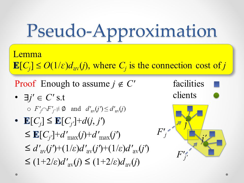 Pseudo-Approximation j j facilities clients F j F j