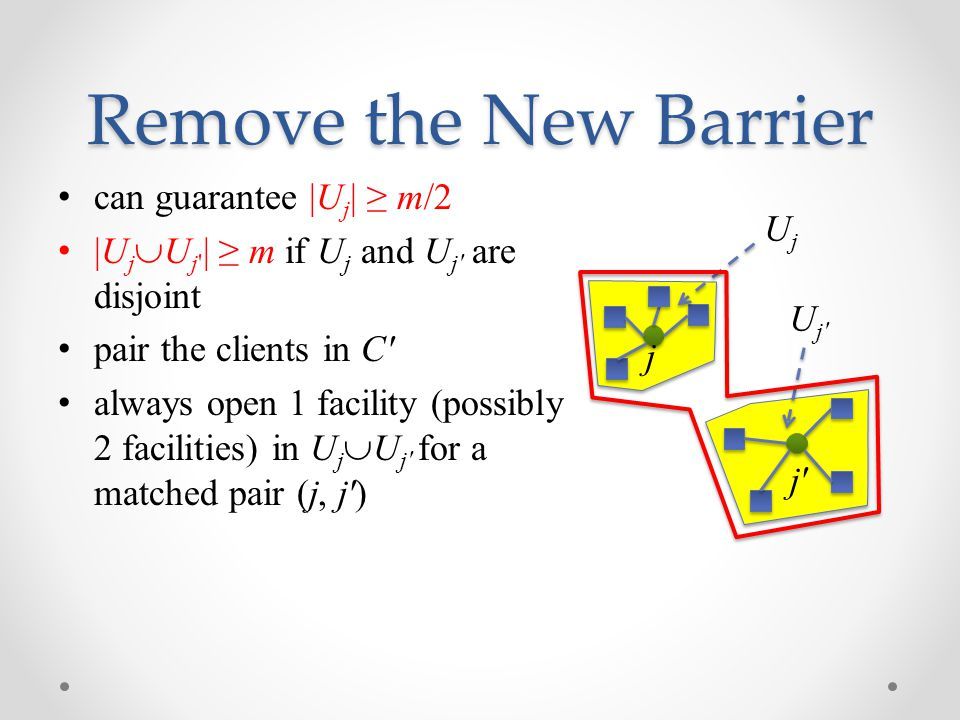 Remove the New Barrier can guarantee |U j | ≥ m/2 |U j  U j | ≥ m if U j and U j are disjoint pair the clients in C always open 1 facility (possibly 2 facilities) in U j  U j for a matched pair (j, j ) j UjUj U j j