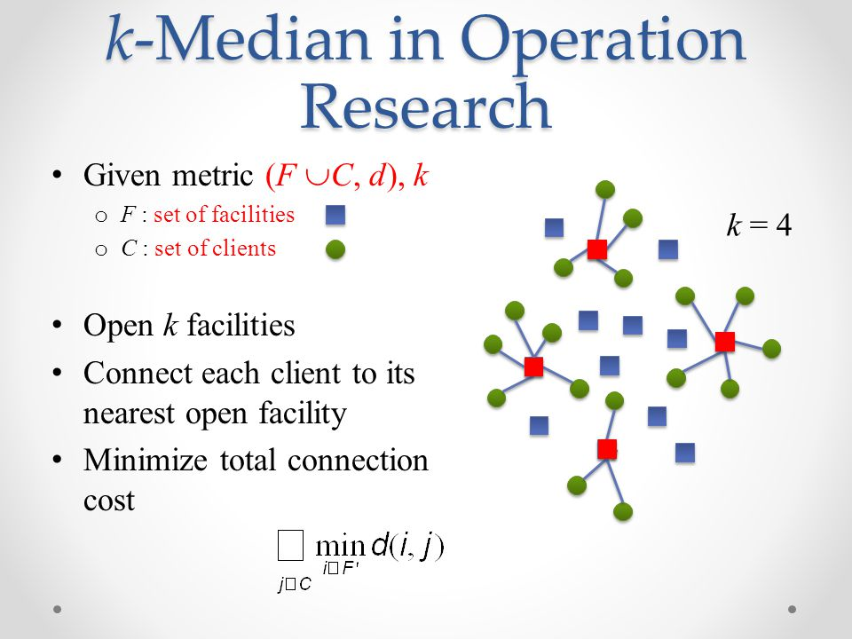 k-Median in Operation Research Given metric (F  C, d), k o F : set of facilities o C : set of clients Open k facilities Connect each client to its nearest open facility Minimize total connection cost k = 4