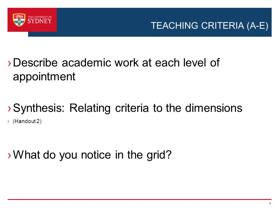 TEACHING CRITERIA (A-E) ›Describe academic work at each level of appointment ›Synthesis: Relating criteria to the dimensions ›(Handout 2) ›What do you