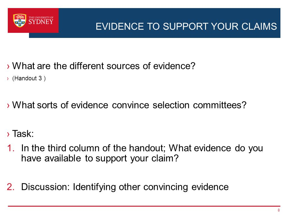 EVIDENCE TO SUPPORT YOUR CLAIMS ›What are the different sources of evidence.