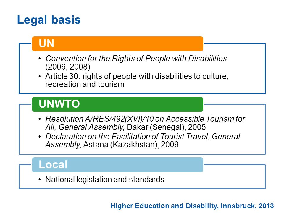 Legal basis Higher Education and Disability, Innsbruck, 2013 Convention for the Rights of People with Disabilities (2006, 2008) Article 30: rights of people with disabilities to culture, recreation and tourism UN Resolution A/RES/492(XVI)/10 on Accessible Tourism for All, General Assembly, Dakar (Senegal), 2005 Declaration on the Facilitation of Tourist Travel, General Assembly, Astana (Kazakhstan), 2009 UNWTO National legislation and standards Local