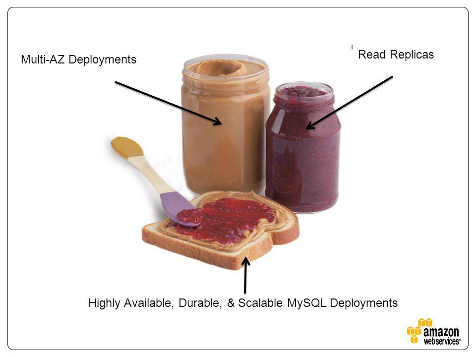 Highly Available, Durable, & Scalable MySQL Deployments Multi-AZ Deployments Read Replicas