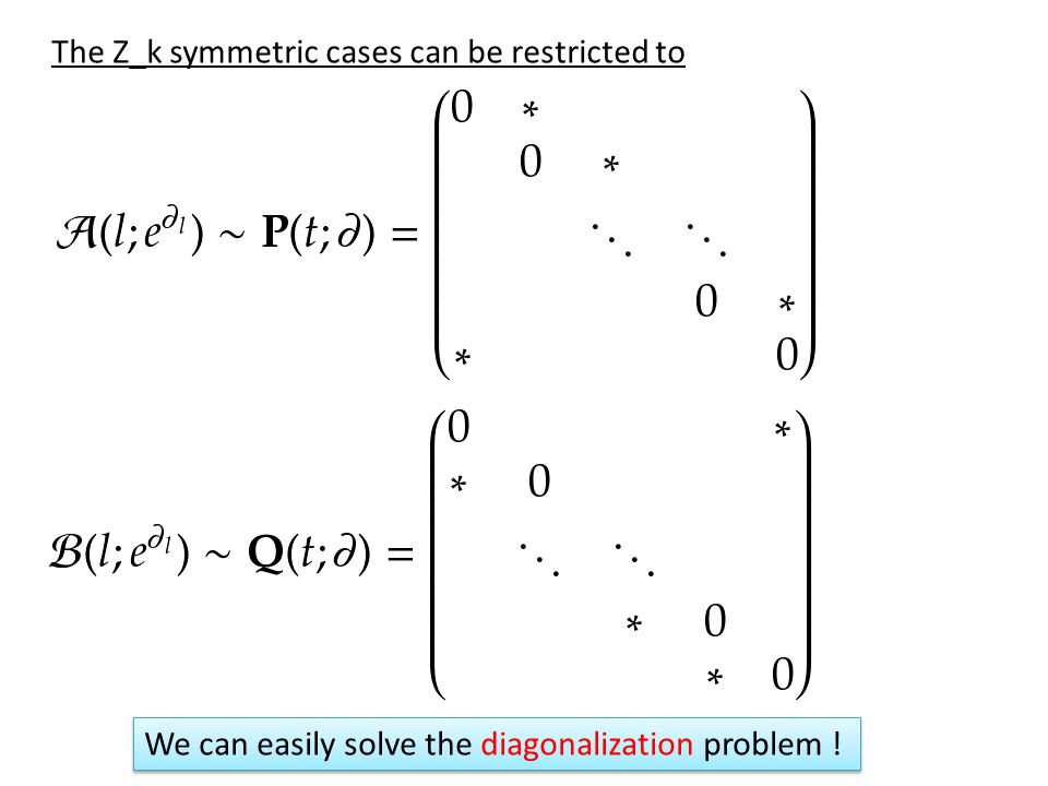 The Z_k symmetric cases can be restricted to We can easily solve the diagonalization problem !