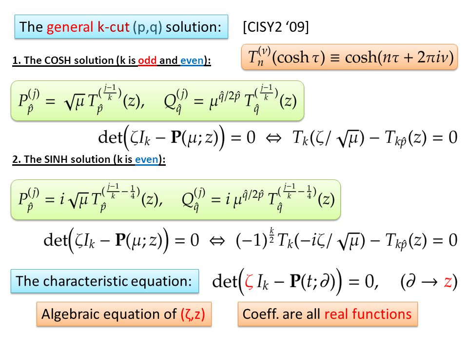 The general k-cut (p,q) solution: 1. The COSH solution (k is odd and even): 2.