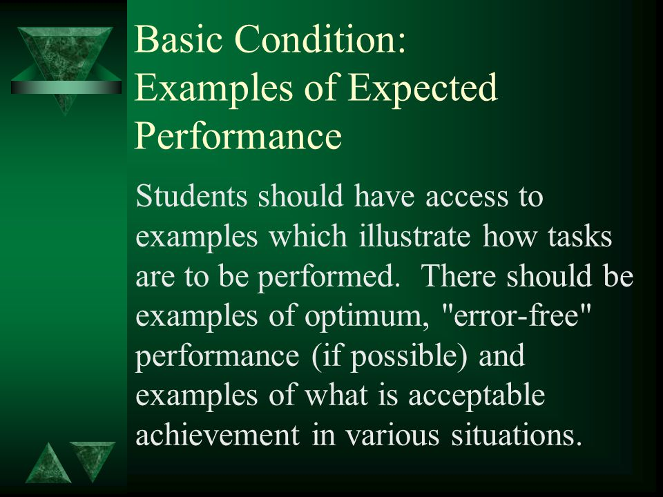 Basic Condition: Examples of Expected Performance Students should have access to examples which illustrate how tasks are to be performed.