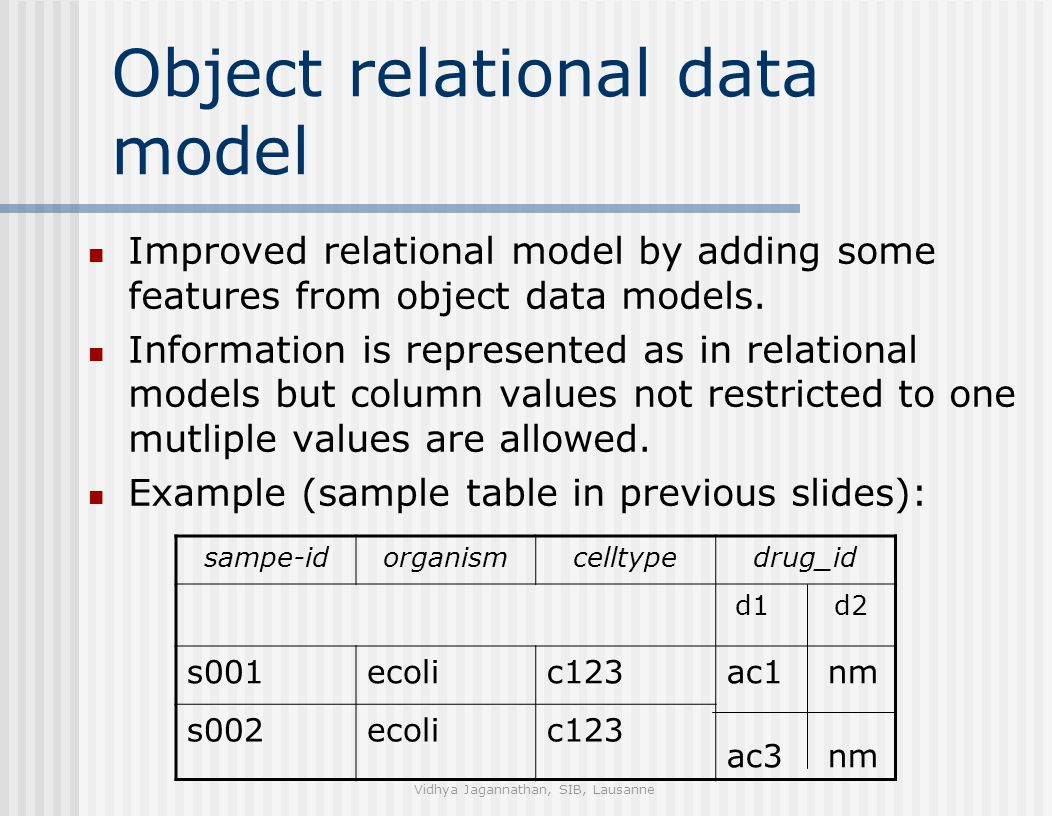 Vidhya Jagannathan, SIB, Lausanne Object relational data model Improved relational model by adding some features from object data models.