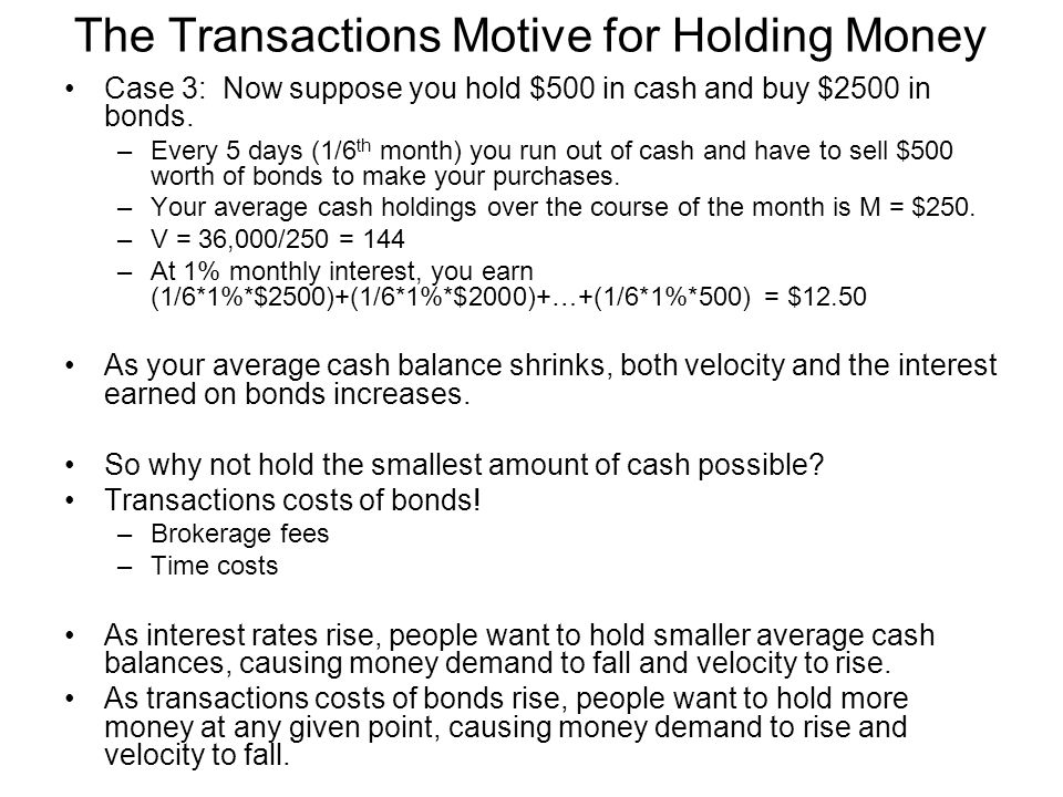 The Transactions Motive for Holding Money Case 3: Now suppose you hold $500 in cash and buy $2500 in bonds. –Every 5 days (1/6 th month) you run out o