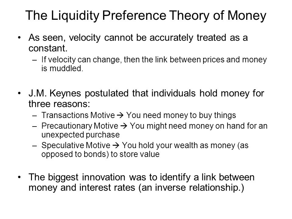 The Liquidity Preference Function What people really care about is the purchasing power of their money –If prices rise, then the real value of money falls.