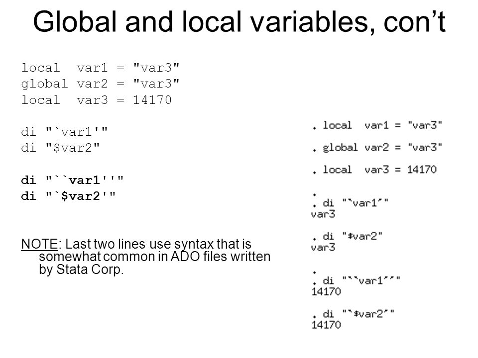 Global and local variables, con't local var1 =