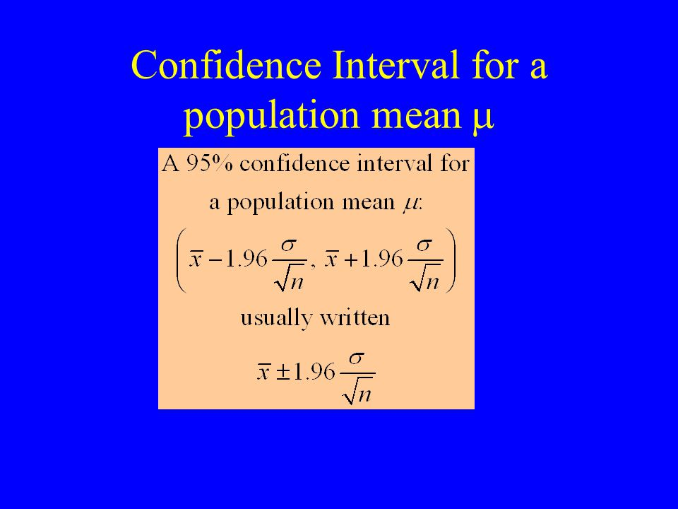 Confidence Interval for a population mean 
