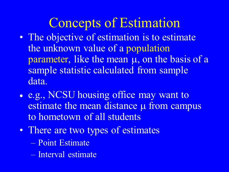 Concepts of Estimation The objective of estimation is to estimate the unknown value of a population parameter, like the mean , on the basis of a sample statistic calculated from sample data.