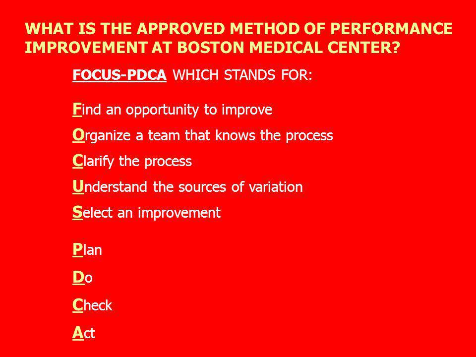 WHAT IS THE APPROVED METHOD OF PERFORMANCE IMPROVEMENT AT BOSTON MEDICAL CENTER? FOCUS-PDCA WHICH STANDS FOR: F ind an opportunity to improve O rganiz