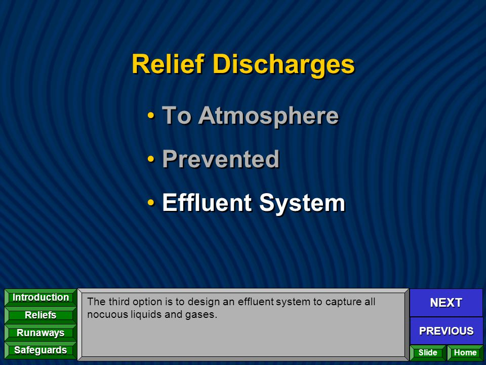 NEXT PREVIOUS Introduction Reliefs Runaways Safeguards Home Relief Discharges To Atmosphere Prevented Effluent System To Atmosphere Prevented Effluent