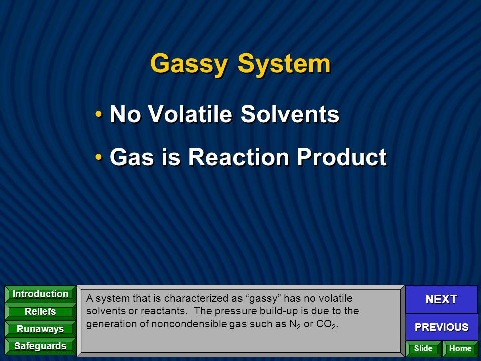 NEXT PREVIOUS Introduction Reliefs Runaways Safeguards Home Gassy System No Volatile Solvents Gas is Reaction Product No Volatile Solvents Gas is Reac