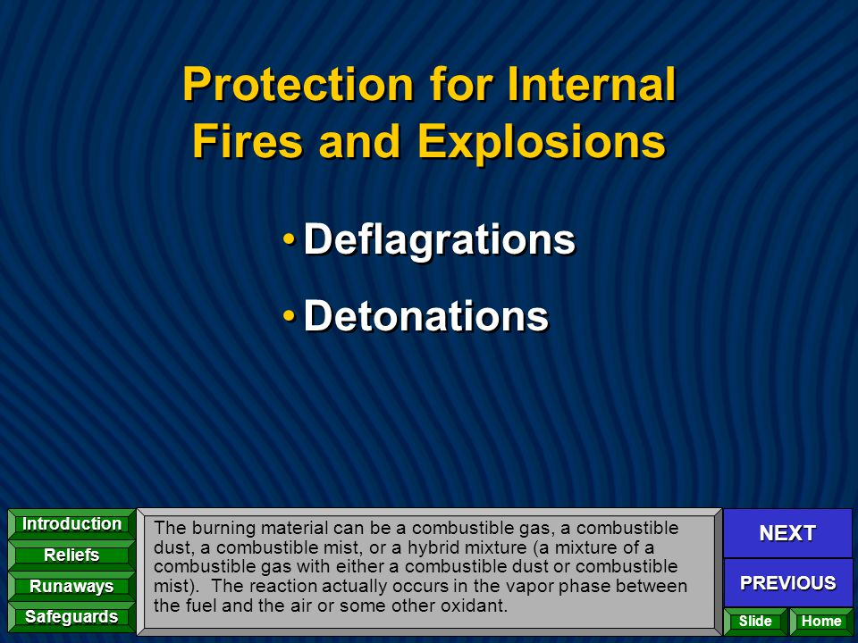 NEXT PREVIOUS Introduction Reliefs Runaways Safeguards Home Protection for Internal Fires and Explosions Deflagrations Detonations Deflagrations Deton