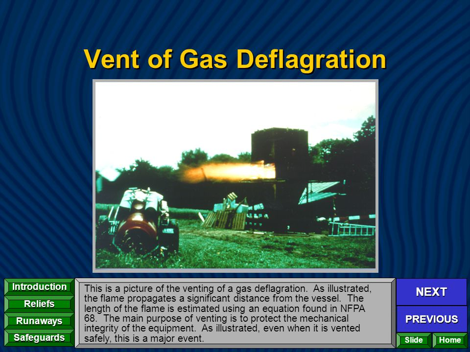 NEXT PREVIOUS Introduction Reliefs Runaways Safeguards Home Vent of Gas Deflagration This is a picture of the venting of a gas deflagration. As illust