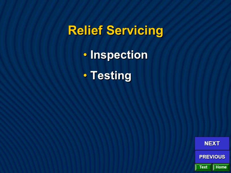 Relief Servicing Inspection Testing Inspection Testing Home NEXT PREVIOUS Text