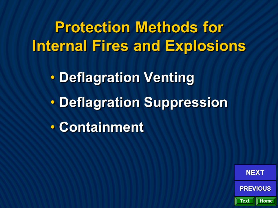 Protection Methods for Internal Fires and Explosions Deflagration Venting Deflagration Suppression Containment Deflagration Venting Deflagration Suppr