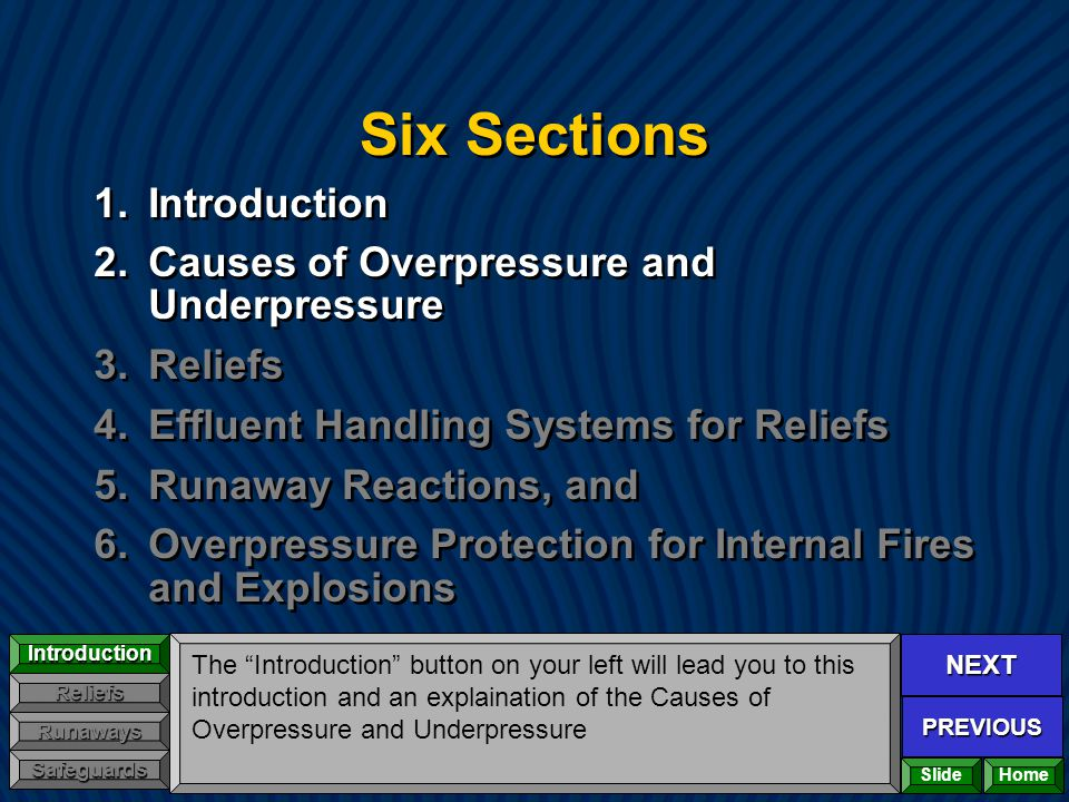 NEXT PREVIOUS Introduction Reliefs Runaways Safeguards Six Sections 1.Introduction 2.Causes of Overpressure and Underpressure 3.Reliefs 4.Effluent Han