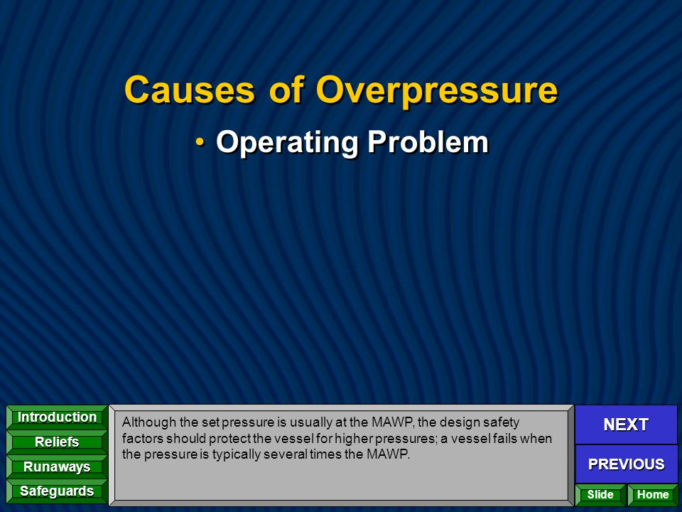 NEXT PREVIOUS Introduction Reliefs Runaways Safeguards Home Causes of Overpressure Operating Problem Although the set pressure is usually at the MAWP,