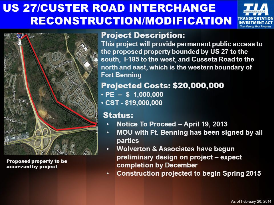 US 27/CUSTER ROAD INTERCHANGE RECONSTRUCTION/MODIFICATION Projected Costs: $20,000,000 PE – $ 1,000,000 CST - $19,000,000 Project Description: This project will provide permanent public access to the proposed property bounded by US 27 to the south, I-185 to the west, and Cusseta Road to the north and east, which is the western boundary of Fort Benning Status: Notice To Proceed – April 19, 2013 MOU with Ft.
