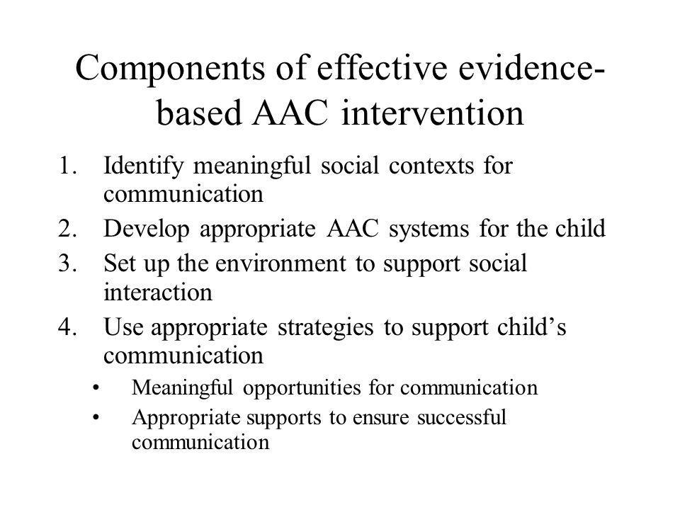Components of effective evidence- based AAC intervention 1.Identify meaningful social contexts for communication 2.Develop appropriate AAC systems for