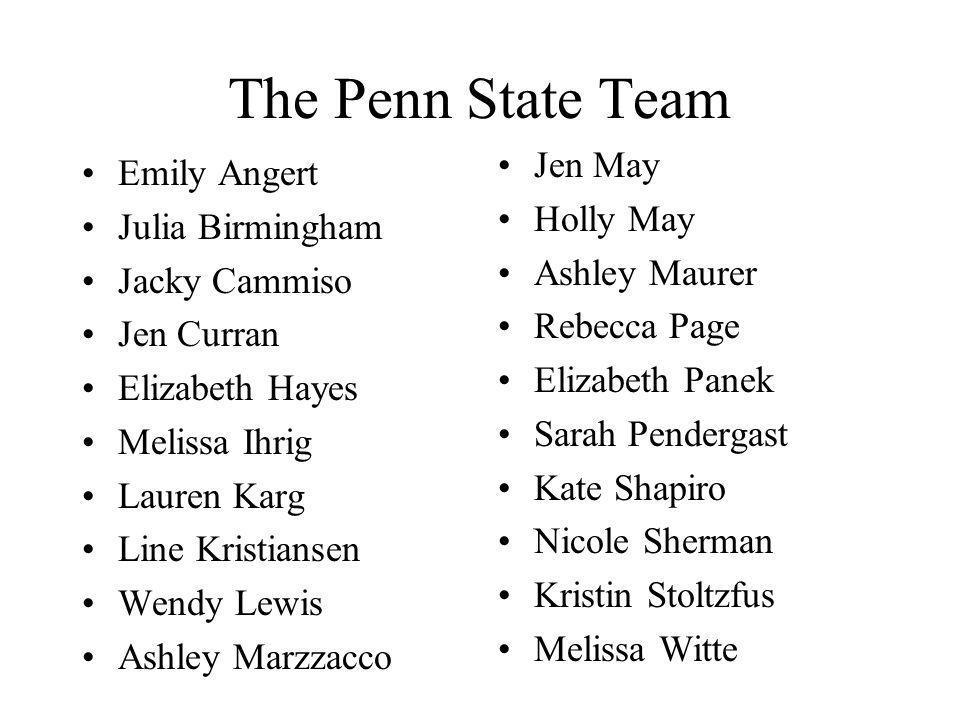 The Penn State Team Emily Angert Julia Birmingham Jacky Cammiso Jen Curran Elizabeth Hayes Melissa Ihrig Lauren Karg Line Kristiansen Wendy Lewis Ashl