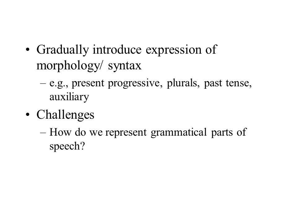 Gradually introduce expression of morphology/ syntax –e.g., present progressive, plurals, past tense, auxiliary Challenges –How do we represent gramma