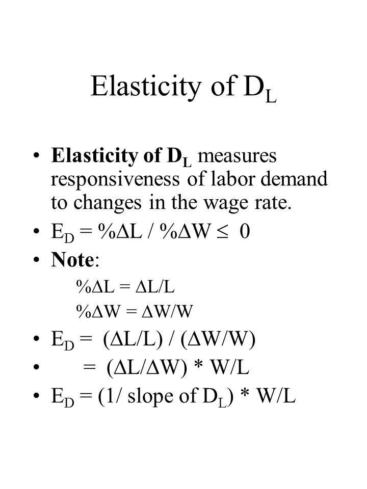Elasticity of D L Elasticity of D L measures responsiveness of labor demand to changes in the wage rate. E D = %  L / %  W  0 Note: %  L =  L/L %