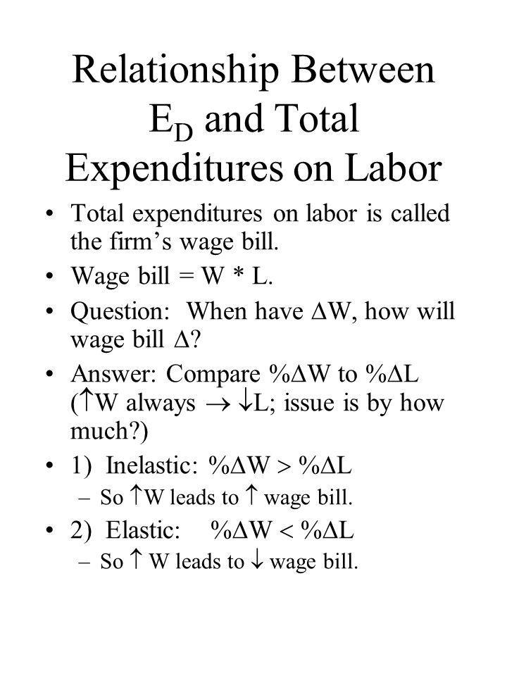 Relationship Between E D and Total Expenditures on Labor Total expenditures on labor is called the firm's wage bill. Wage bill = W * L. Question: When
