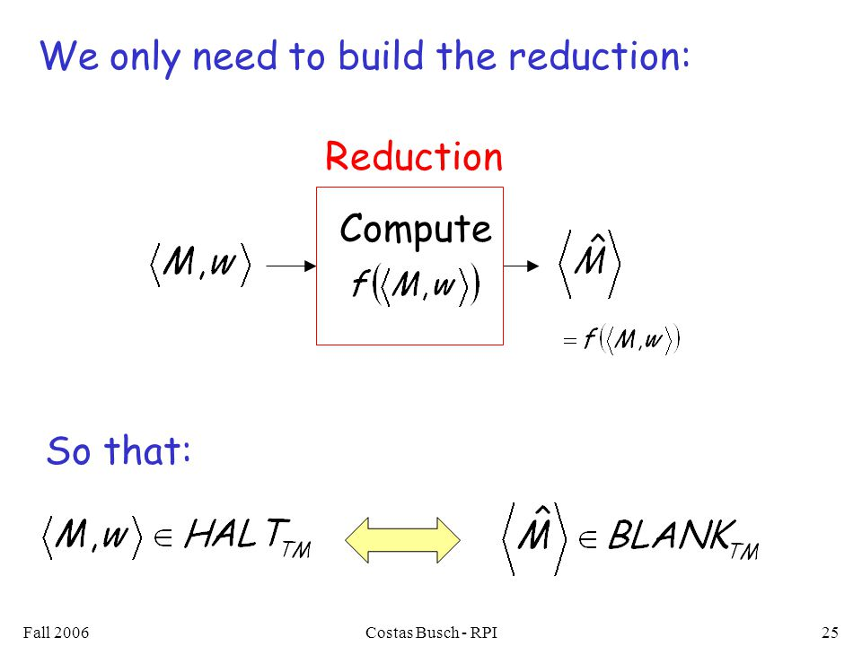 Fall 2006Costas Busch - RPI25 Compute Reduction We only need to build the reduction: So that: