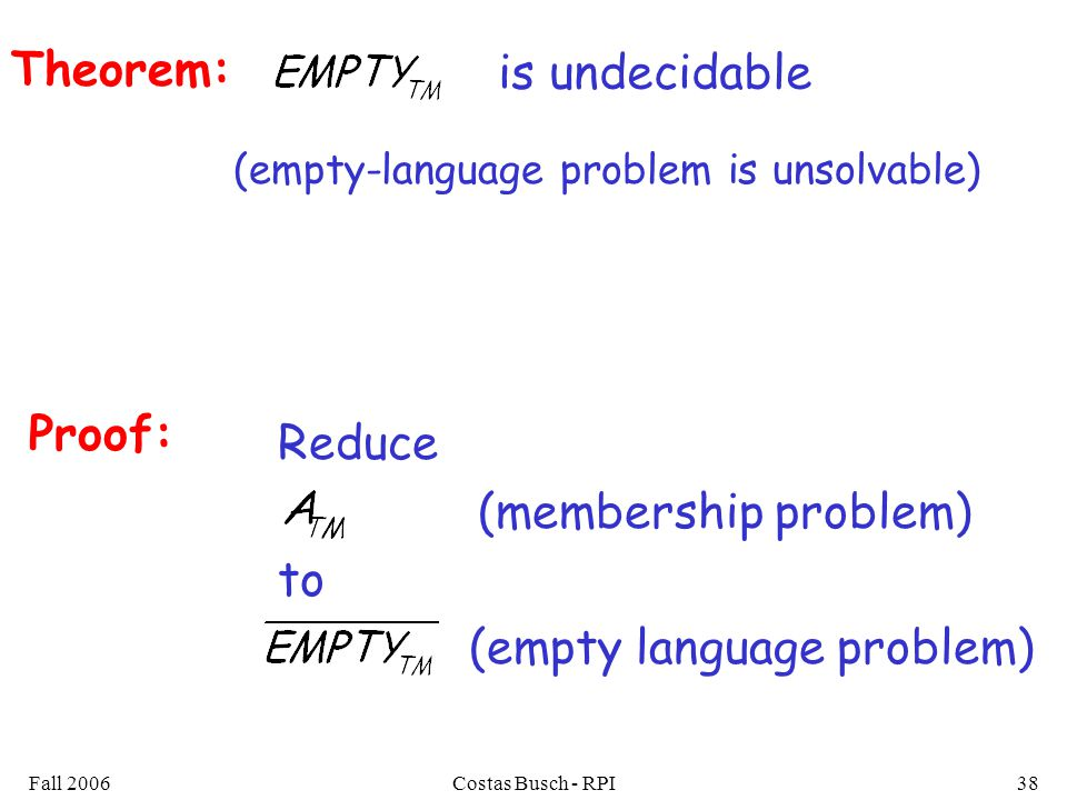 Fall 2006Costas Busch - RPI38 Theorem: (empty-language problem is unsolvable) is undecidable Proof: Reduce (membership problem) to (empty language problem)