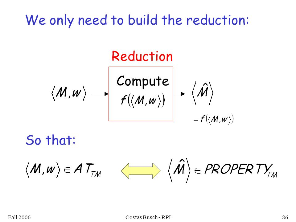 Fall 2006Costas Busch - RPI86 Compute Reduction We only need to build the reduction: So that: