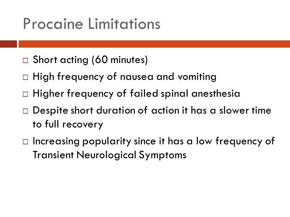 Summary MedicationPreparationDose Lower Limbs Dose Lower Abdomen Dose Upper Abdomen Procaine10% Solution75 mg125 mg200 mg Lidocaine5% Solution in 7.5% dextrose 25-50 mg50-75 mg75-100 mg Tetracaine1% Solution in 10% glucose or as niphanoid crystals 4-8 mg10-12 mg10-16 mg Bupivacaine0.5-0.75% Isobaric Solution 0.5-0.75% Hyperbaric Solution in 8.25% Dextrose Hypobaric Solution 4-10 mg12-14 mg12-18 mg