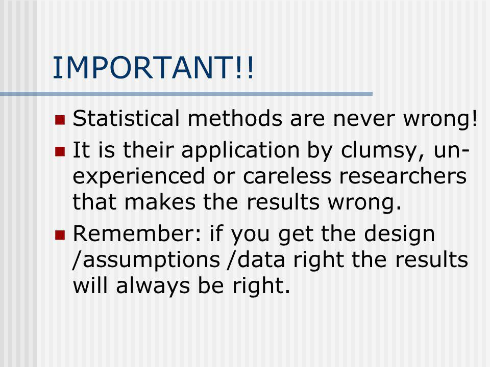 IMPORTANT!. Statistical methods are never wrong.