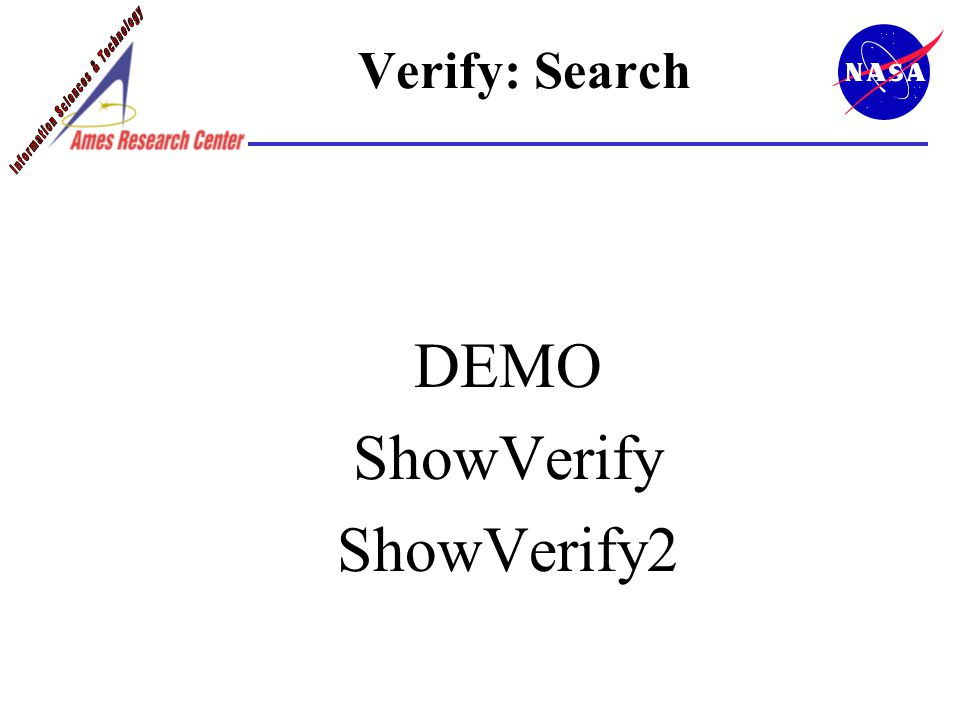 Verify: Search DEMO ShowVerify ShowVerify2
