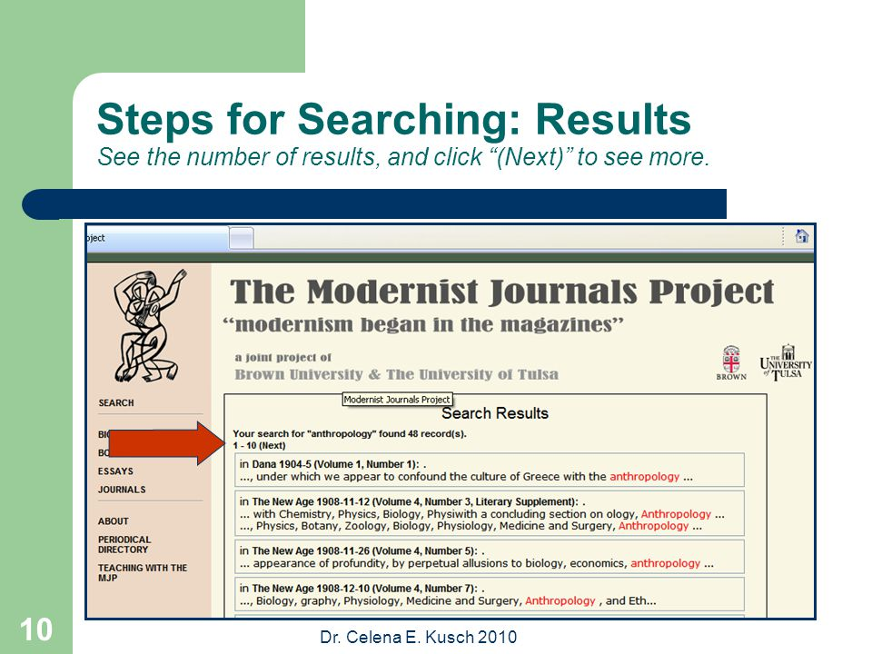 """Dr. Celena E. Kusch 2010 10 Steps for Searching: Results See the number of results, and click """"(Next)"""" to see more."""