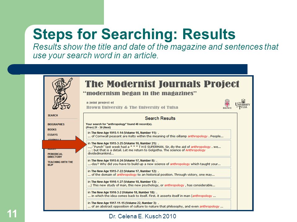 Dr. Celena E. Kusch 2010 11 Steps for Searching: Results Results show the title and date of the magazine and sentences that use your search word in an