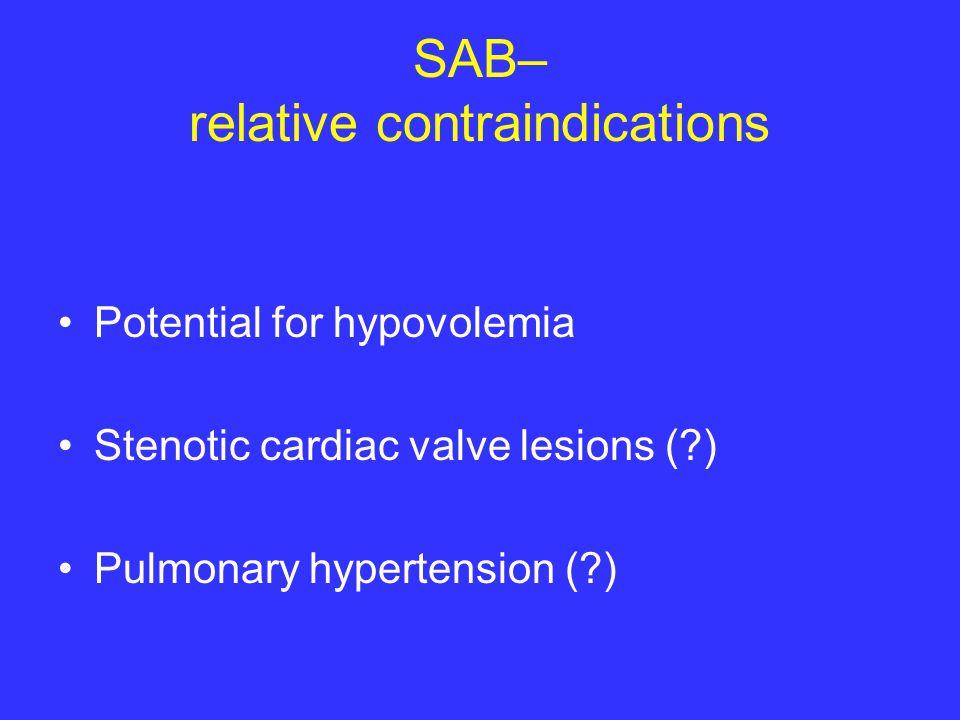 SAB– relative contraindications Potential for hypovolemia Stenotic cardiac valve lesions (?) Pulmonary hypertension (?)