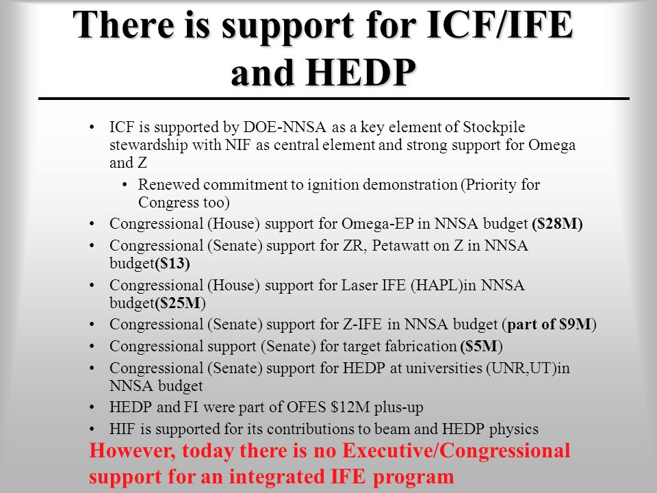 There is support for ICF/IFE and HEDP ICF is supported by DOE-NNSA as a key element of Stockpile stewardship with NIF as central element and strong support for Omega and Z Renewed commitment to ignition demonstration (Priority for Congress too) Congressional (House) support for Omega-EP in NNSA budget ($28M) Congressional (Senate) support for ZR, Petawatt on Z in NNSA budget($13) Congressional (House) support for Laser IFE (HAPL)in NNSA budget($25M) Congressional (Senate) support for Z-IFE in NNSA budget (part of $9M) Congressional support (Senate) for target fabrication ($5M) Congressional (Senate) support for HEDP at universities (UNR,UT)in NNSA budget HEDP and FI were part of OFES $12M plus-up HIF is supported for its contributions to beam and HEDP physics However, today there is no Executive/Congressional support for an integrated IFE program