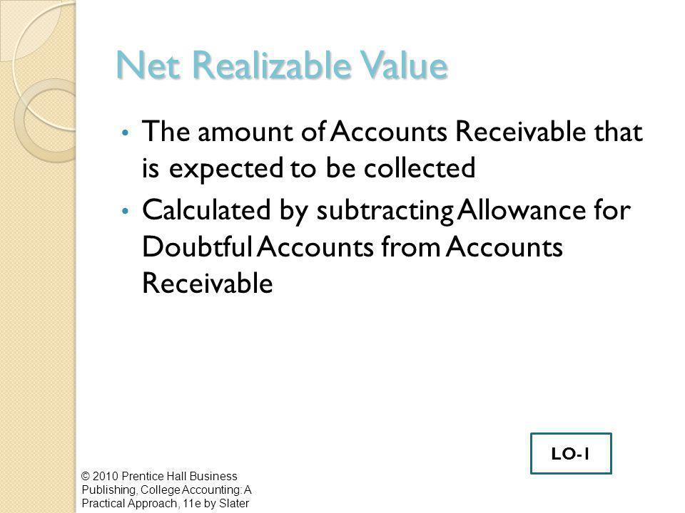 Net Realizable Value © 2010 Prentice Hall Business Publishing, College Accounting: A Practical Approach, 11e by Slater The amount of Accounts Receivable that is expected to be collected Calculated by subtracting Allowance for Doubtful Accounts from Accounts Receivable LO-1