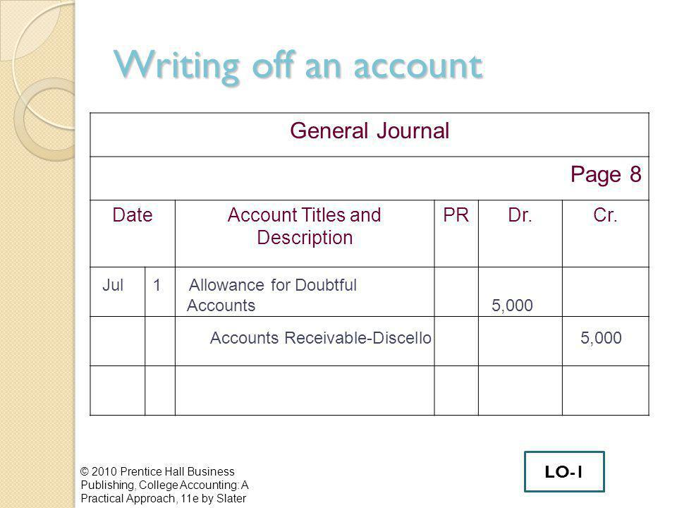 Writing off an account © 2010 Prentice Hall Business Publishing, College Accounting: A Practical Approach, 11e by Slater LO-1 General Journal Page 8 DateAccount Titles and Description PRDr.Cr.